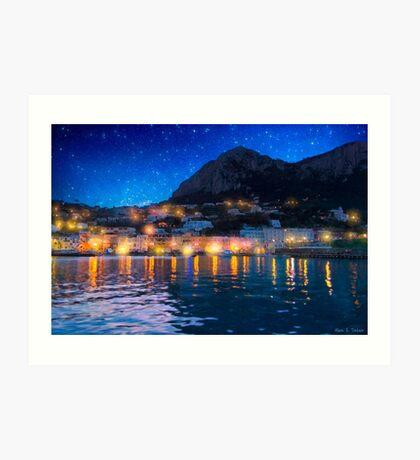Night Skies Over The Isle of Capri Art Print