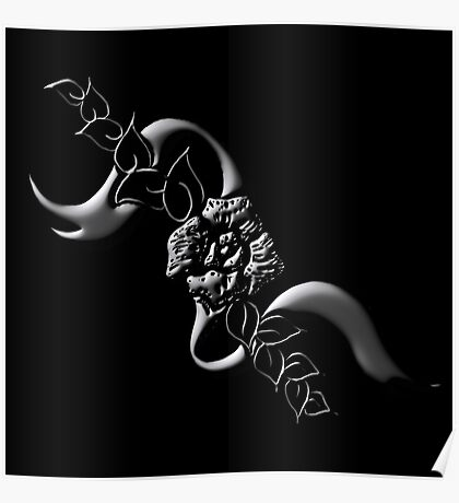 Embossed Ribbon & Rose Poster