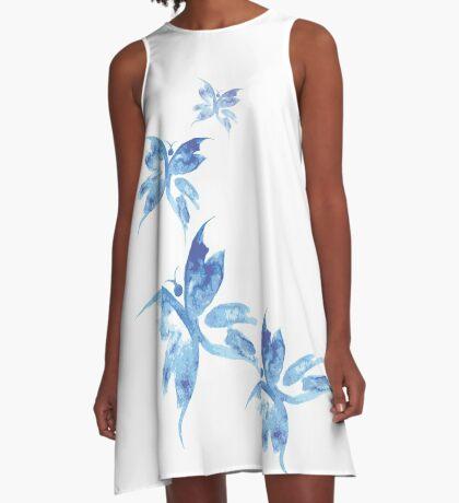 Beautiful watercolor butterflies pattern A-Line Dress