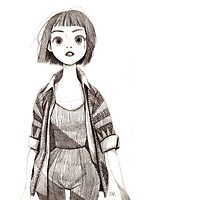 Cute Sketch Girl Photographic Print