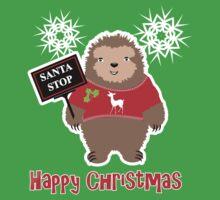 Happy Christmas Cute Santa Stop Whimsy Cartoon Festive Sloth  Kids Tee