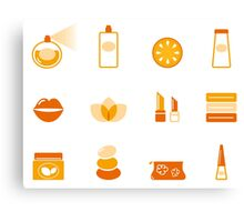 Vector collection of stylized cosmetic and wellness icons isolated on white Canvas Print