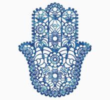 Blue Watercolor Hamsa Baby Tee