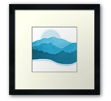 Mountains Dreaming -Watercolor  Blue  Framed Print