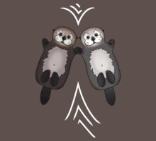 Otters Holding Hands - Otter Couple Baby Tee