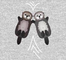 Otters Holding Hands - Otter Couple One Piece - Long Sleeve