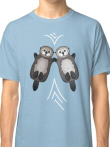 Otters Holding Hands - Otter Couple Classic T-Shirt