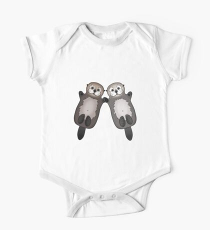 Otters Holding Hands - Otter Couple One Piece - Short Sleeve
