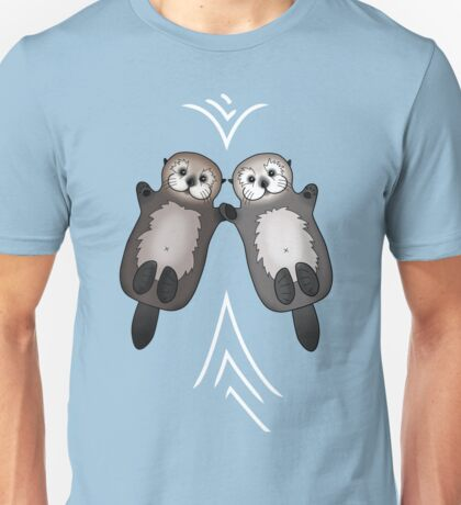Otters Holding Hands - Otter Couple - Valentine's Day Love Unisex T-Shirt