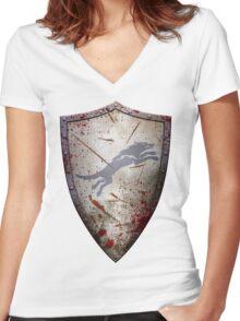 Stark Shield - Battle Damaged Women's Fitted V-Neck T-Shirt