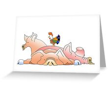 3 pigs and a hen Greeting Card