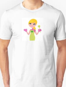 Cute blond woman cooking healthy food Unisex T-Shirt