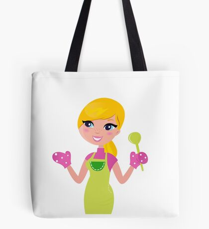 Cute blond woman cooking healthy food Tote Bag