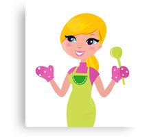 Cute blond woman cooking healthy food Canvas Print
