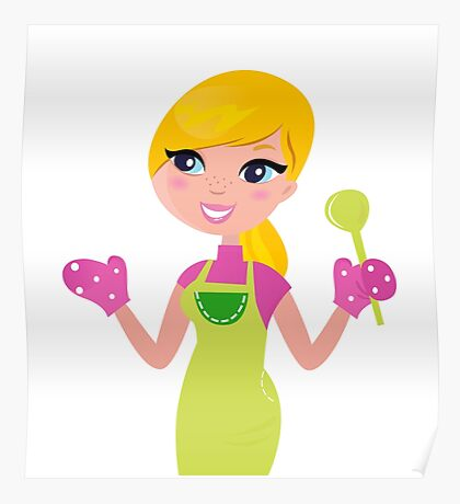 Cute blond woman cooking healthy food Poster