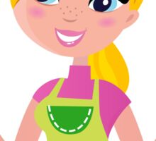 Cute blond woman cooking healthy food Sticker
