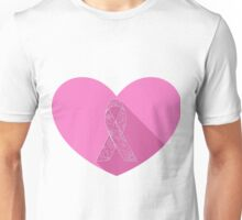 Pink ribbon flat on heart Unisex T-Shirt