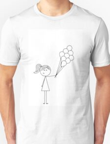 Stick girl with balloons Unisex T-Shirt