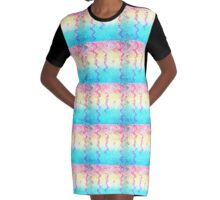 Swirly Pastel Party Streamers Design Graphic T-Shirt Dress