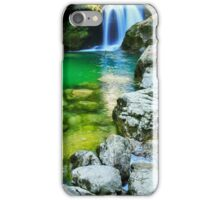 Girl watching the Sum Waterfall in Vintgar Gorge iPhone Case/Skin