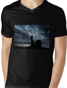 Moonrise Over Balanced Rock .3 Mens V-Neck T-Shirt