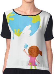 Little artist - child painting Earth ( planet, globe ) Chiffon Top