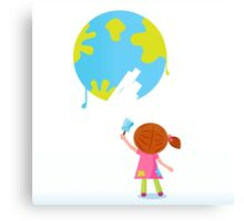 Little artist - child painting Earth ( planet, globe ) Canvas Print