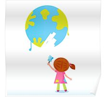 Little artist - child painting Earth ( planet, globe ) Poster