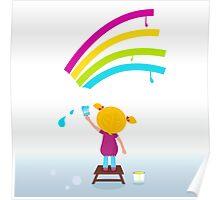 Little artist - cute child painting Rainbow on the Wall Poster