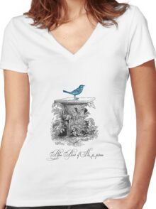 Blue Bird of Happiness Women's Fitted V-Neck T-Shirt