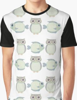 Three Cool Fish and Three Cool Owls Graphic T-Shirt