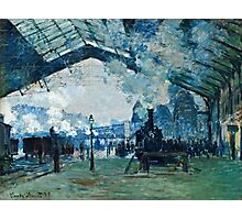 Claude Monet - Arrival of the Normandy Train, Gare Saint Lazare (1877)  Photographic Print