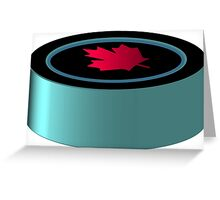 Hockey puck with red maple leaf Greeting Card