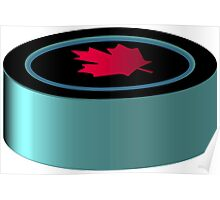 Hockey puck with red maple leaf Poster