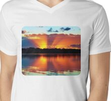 Orange Rays Sunrise Panorama. Apparel and Gifts Mens V-Neck T-Shirt
