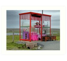 Pink Bus Stop at Unst Art Print