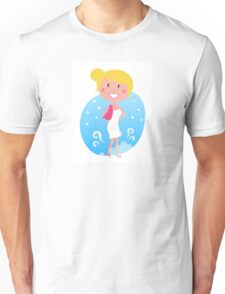 Cute blond woman in winter Unisex T-Shirt