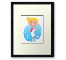 Cute blond woman in winter Framed Print