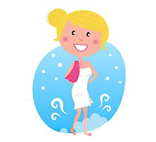 Cute blond woman in winter Photographic Print
