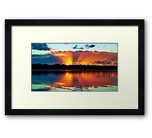 Orange Rays Sunrise Panorama. Original exclusive photo art. Framed Print