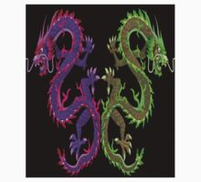 CHINESE DRAGON; Colorful Abstract Mirror Image Art Print Kids Tee