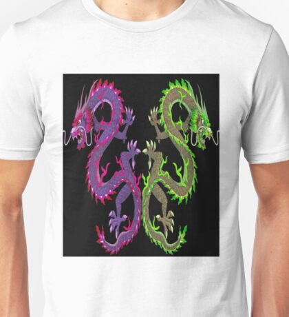 CHINESE DRAGON; Colorful Abstract Mirror Image Art Print Unisex T-Shirt