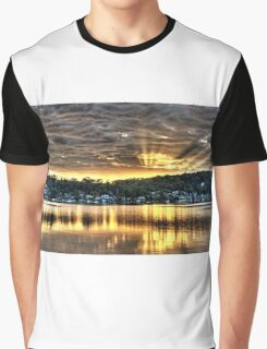 Golden Crepuscular sunrise water reflections. Graphic T-Shirt