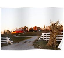 INDIANA FARM AT SUNSET Poster