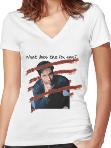 What Does the Fox Say? Women's Fitted V-Neck T-Shirt