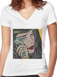 Summertime Shootout 2 cover Women's Fitted V-Neck T-Shirt