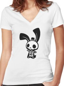 Chui Bunny's Skeleton in a Tiny Top Hat Women's Fitted V-Neck T-Shirt
