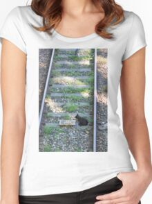 cat on the rails Women's Fitted Scoop T-Shirt