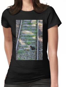 cat on the rails Womens Fitted T-Shirt