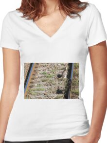 cat on the rails Women's Fitted V-Neck T-Shirt